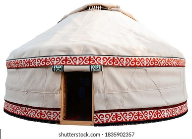 Isolated yurt. Ancient dwelling of a nomad. Traditional ornaments of ancient nomads.