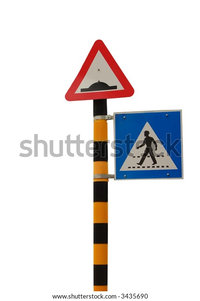 isolated zebra crossing sign