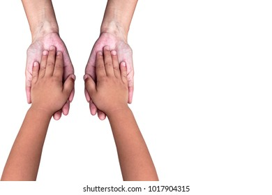 Isolated,adult and young holding hands on white background with clipping path.family,relationship,healthcare and support concept.