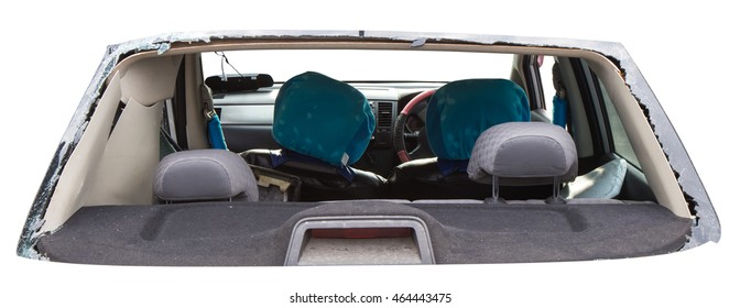 Isolates vulnerable rear car accident, which shattered the glass out of the seat until clear.