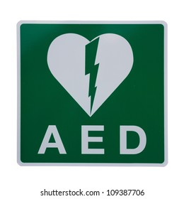 Isolation of an AED Sticker to indicate that there is a Defibrillator located in the building or to indicate the exact location
