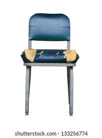 Isolation Of A Grungy Vintage Chair With Split Seat On White