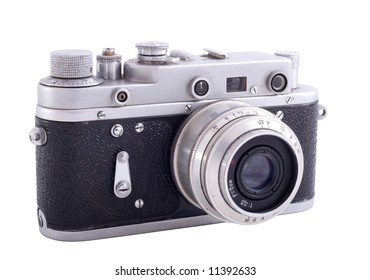 Isolation of old russian photo camera. White background