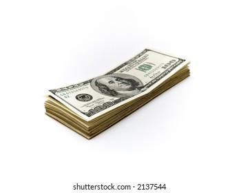 isolation, over white, 100,Hundred,Dollar,cash
