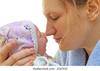 isolation, over white, mother, baby, clasp,embrace,happiness