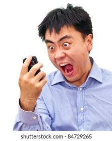 Isolation photo of a crazy angry asian man yelling at his cellphone