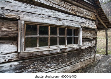 isolation photo of window in old barn or cabin