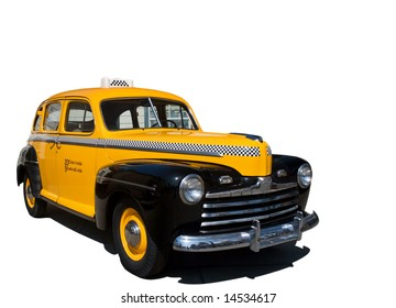Isolation of vintage antique yellow taxi cab.
