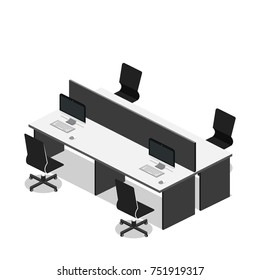 Isometric 3D illustration Interior of department office with workplaces