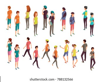 Isometric 3d people. Young casual persons set. Isometric young people woman and man illustration