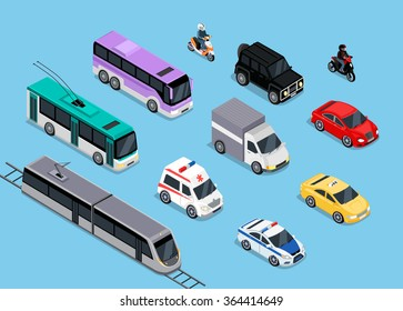 Isometric 3d transport set flat design. Car vehicle, transportation traffic, truck van, auto cargo, bus and automobile, police and motorcycle illustration.