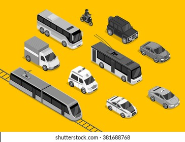 Isometric 3d transport set flat design. Car vehicle, transportation traffic, truck van, auto cargo, bus and automobile, police and motorcycle illustration. Raster