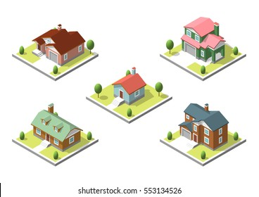 isometric buildings set. Flat style. illustration Urban and Rural Houses collection.