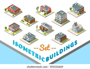 isometric buildings set. Isolated on white background. Included hotel, cafe, church, police, post burger
