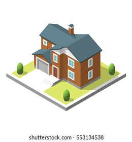 isometric buildingt. Flat style. illustration Urban and Rural House.