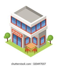 Isometric burger house. Raster illustration