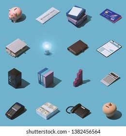 Isometric business, banking and finance items collage background