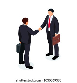 Isometric businessmen shake hands isolated on white background. 3d businessmen came to an agreement and completed the deal with a handshake. Template for banner or infographics.