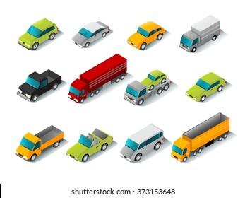 Isometric Car Icons Set