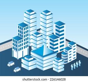 Isometric  city in blue tones