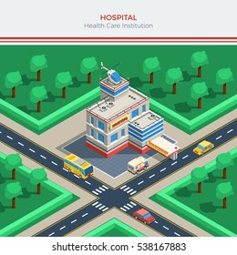 Isometric city constructor with hospital building helicopter on roof crossroad ambulance and cars  illustration