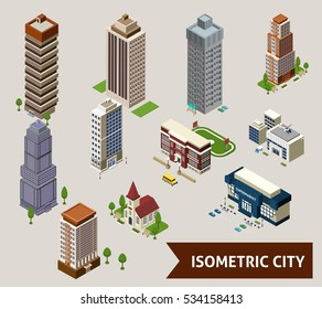 Isometric city isolated icon set with different types of buildings and adjoined territory  illustration