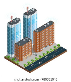 Isometric composition of town street with devices in houses tower and cars connected by wireless network  illustration