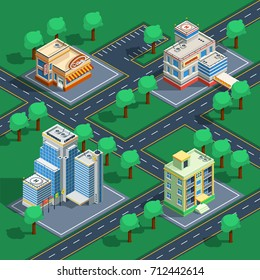 Isometric decorative icon set with buildings placed on the abstract streets with trees around  illustration
