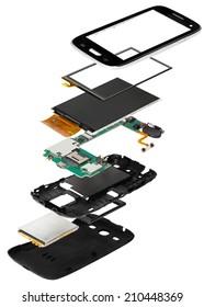 isometric disassembled smartphone