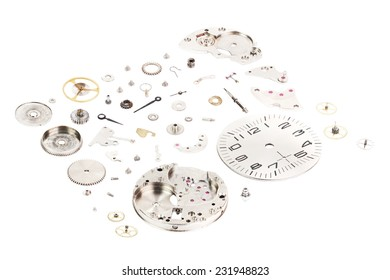 Isometric. Dismantled old mechanical wristwatch isolated on white background
