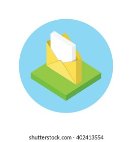 Isometric envelope yellow open design flat. 3D letter icon