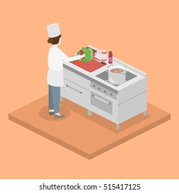 Isometric flat 3D concept interior of professional restourant kitchen