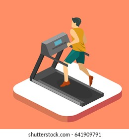Isometric flat 3D isolated concept man is running on the treadmill