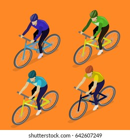 Isometric flat 3D isolated concept the group of cyclists man in road bicycle racing.