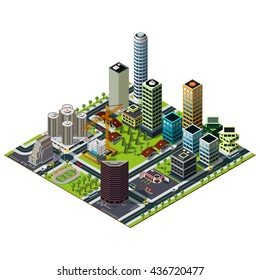 Isometric hotel building. Bank street in downtown. Constraction,  central studium and skyscrapers illustration.