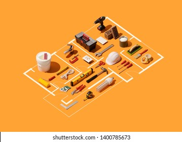 Isometric house plan project with work tools: home renovation, construction and DIY repair concept