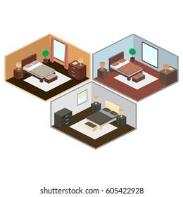 Isometric illustration of a bedroom interior.