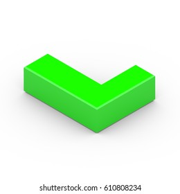 Isometric letter L uppercase. 3D rendering of green font with shadow isolated on white background.