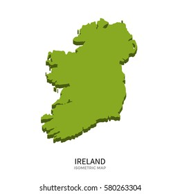 Isometric map of Ireland detailed illustration. Isolated country for infographic