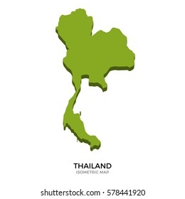 Isometric map of Thailand detailed illustration. Isolated green country for infographic