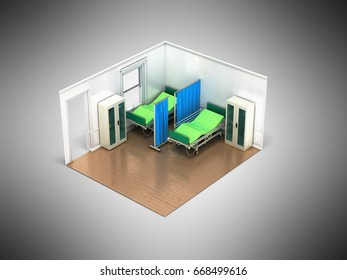 Isometric medical room 3d render on gray background