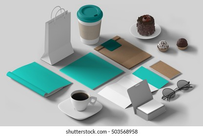 Isometric mockup branding template. Empty background isolated collage set of objects. Corporate identity 3d concept. Cup, stationery, cards, paper bag, glasses, brochure.