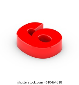 Isometric number 6. 3D rendering of red font with shadow isolated on white background.