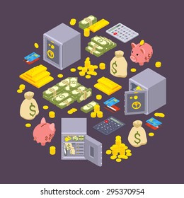 Isometric objects related to finance against the dark background. Conceptual illustration suitable for advertising and promotion