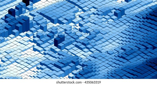 Isometric Pattern, Abstract 3D Chart Blue Background