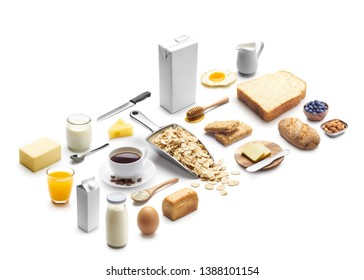 Isometric presentation of healthy breakfast over white background