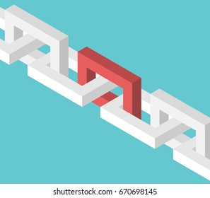 Isometric red unique chain link. Strength, power and leadership concept. Flat design