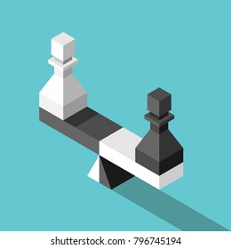 Isometric scales weighing white and black chess pawns on turquoise blue background. Opposition, choice, job and equality concept. Flat design