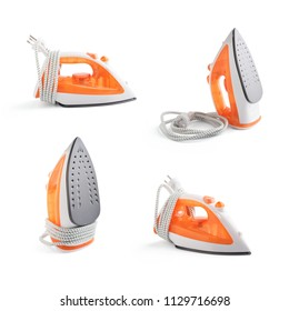 Isometric set of steam iron isolated on white background. clipping path.