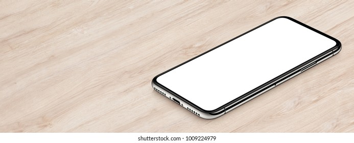 Isometric smartphone mockup lies on office desk. Banner with copy space. 3D illustration.